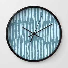 Vertical Dash Turquoise on Teal Blue Wall Clock