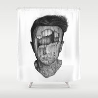 wood Shower Curtains featuring wood kid by David Cristobal