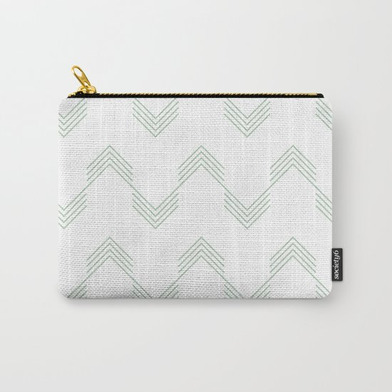 Deconstructed Chevron in Pastel Cactus Green on White Carry-All Pouch