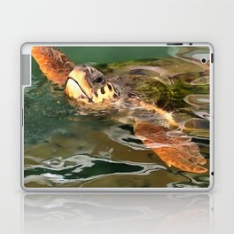 Hands Up For A Plastic Free Ocean Loggerhead Turtle Laptop & iPad Skin