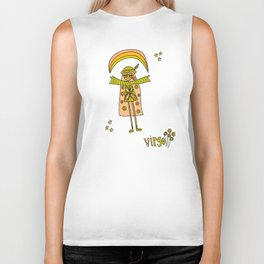 virgo flower child zodiac art by surfy birdy Biker Tank