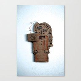 the sad cardboard girl Canvas Print