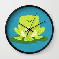 frog Wall Clocks featuring Frog by Claire Lordon