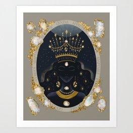 Gemini Zodiac Queen | June Birthday | Pearl Birthstone Art Print