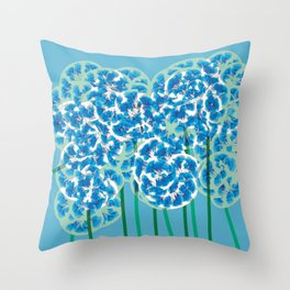 Floral Fun 8 Green and Blue Throw Pillow