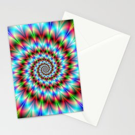 Spiral Rosette in Blue Green and Red Stationery Cards