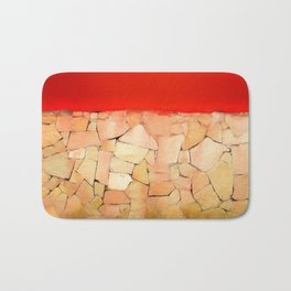 Urban Tiled Wall and Red Paint Bath Mat