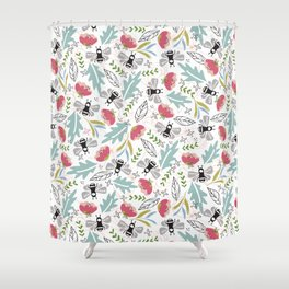 Dance pattern of Bees in a flower field Shower Curtain