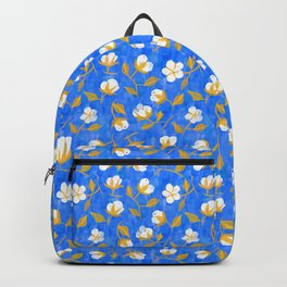Painterly cotton flowers // in cobalt blue Backpack