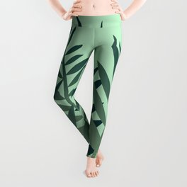 Fern Palm leaves big size green Leggings