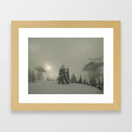 Grouse Mountain snowed out. Framed Art Print