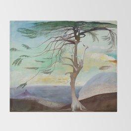 Lonely Cedar Tree Landscape Painting Throw Blanket