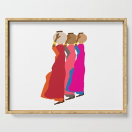 Three women carrying water 1 Serving Tray