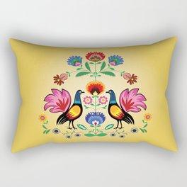 Polish Folk With Decorative Floral & Cockerels Rectangular Pillow