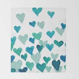 Valentine's Day Watercolor Hearts - turquoise Throw Blanket