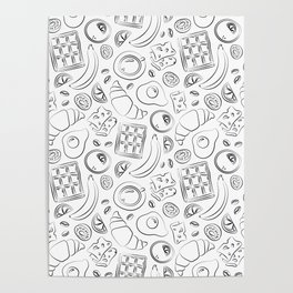 Breakfast black and white pattern Poster