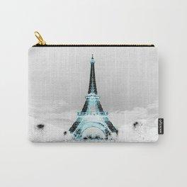 Paris Black & White + Blue Carry-All Pouch