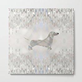 Dachshund dog  - Doxie pearl silhouette Metal Print
