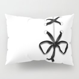 Laced Black Ribbon on White Pillow Sham