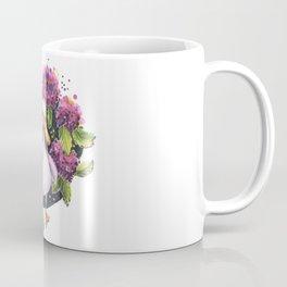 Cute duck in purple flowers hydrangea traditional illustration Coffee Mug