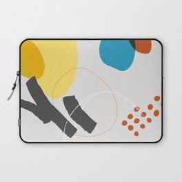 Shape & Hue Series No. 1 – Yellow, Orange & Blue Modern Abstract Laptop Sleeve