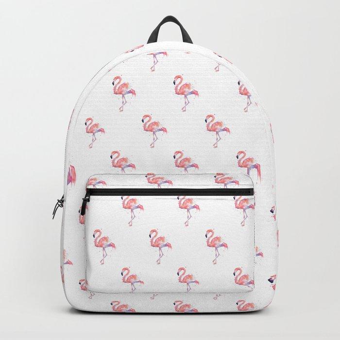 Pink Flamingo Watercolor | Tropical Animals Bird Flamingos Backpack