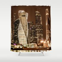 moscow Shower Curtains featuring Moscow city by Vlad&Lyubov
