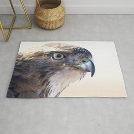 Watercolor Bird Redtail Juvenile Hawk 03, Where's Dinner? Rug