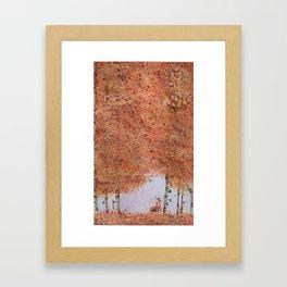 Autumn Birch Fox Framed Art Print