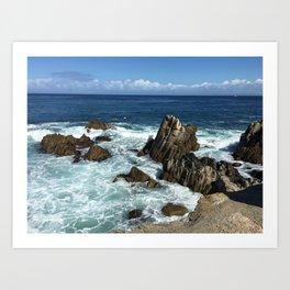 Waves crashing on rocks in Monterey Bay Art Print