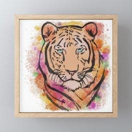 Watercolour Colourful Tiger  Framed Mini Art Print