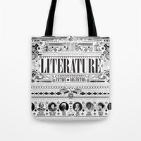 literature Tote Bags featuring Literature Poster by Ryan Huddle House of H