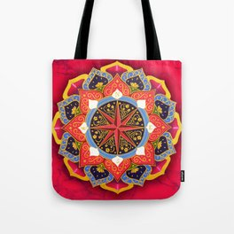 """""""Rose of the Winds"""" Pink mandala by Ilse Quezada Tote Bag"""