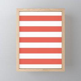 Fire opal - solid color - white stripes pattern Framed Mini Art Print