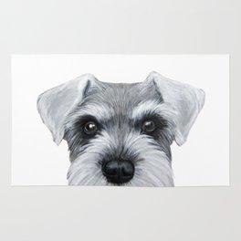 Schnauzer Grey&white, Dog illustration original painting print Rug