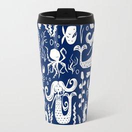 Under The Sea Navy Blue Travel Mug