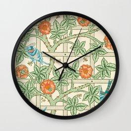 William Morris Trellis and Birds Wall Clock
