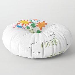 Picasso le bouquet colorful floral positive wall art, anti war print, room decor, picasso Floor Pillow