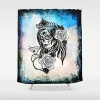 decal Shower Curtains featuring bw sugarskull by haroulita