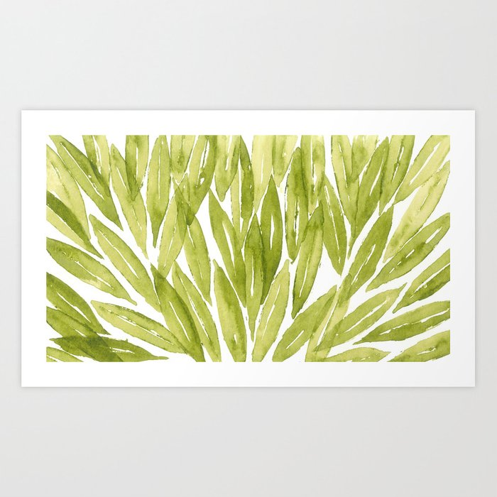 Olive Tree Leaves Pattern In Watercolor Art Print By Bonheurem