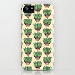 Succulents House Plant Illustration Pattern iPhone Case