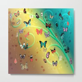 Butterflies spring bloom Metal Print