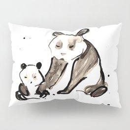Mother and Baby Black Ink Panda Bears Illustration Pillow Sham