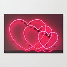 Neon Hearts Canvas Print