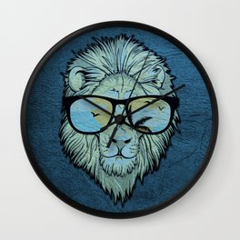 Stylish Lion Design with Moroccan Leather background Wall Clock