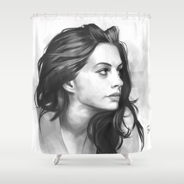Anne Hathaway minimalist illustration Shower Curtain