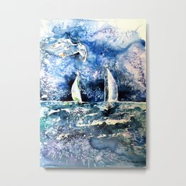 Sailboats with seagul Metal Print