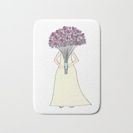 Bridal Bouquet blue ribbon Bath Mat