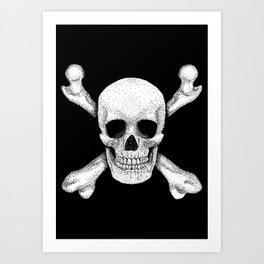 Jolly Roger - Deaths Head Pirate Skull Charge Art Print