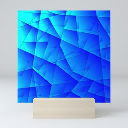 Bright sea pattern of heavenly and blue triangles and irregularly shaped lines. Mini Art Print